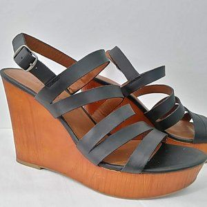 Lucky Brand Larinaa Leather Wedge Sandals 9.5